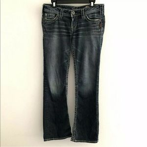 Silver 30 jeans pioneer bootcut distressed stretch
